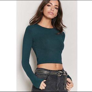 Cotton Knit Crop Top in Dark Green Size S
